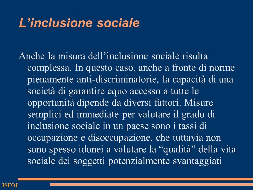 Linclusione sociale Anche la misura dellinclusione sociale risulta complessa. In questo caso, anche a fronte di norme pienamente anti-discriminatorie,