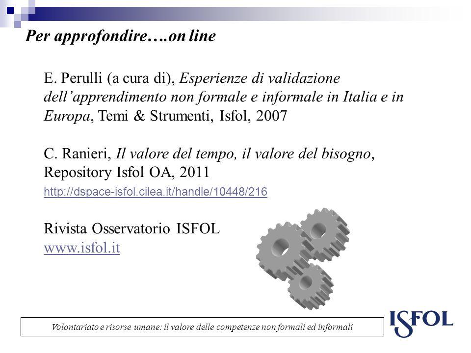 Per approfondire….on line E. Perulli (a cura di), Esperienze di validazione dellapprendimento non formale e informale in Italia e in Europa, Temi & St
