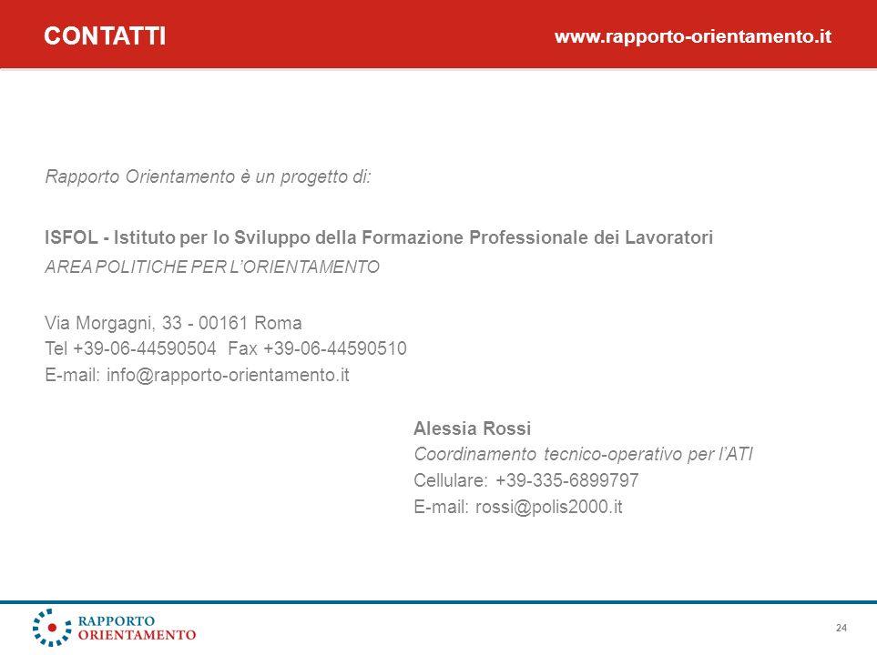 24 Rapporto Orientamento è un progetto di: ISFOL - Istituto per lo Sviluppo della Formazione Professionale dei Lavoratori AREA POLITICHE PER LORIENTAMENTO Via Morgagni, 33 - 00161 Roma Tel +39-06-44590504 Fax +39-06-44590510 E-mail: info@rapporto-orientamento.it Alessia Rossi Coordinamento tecnico-operativo per lATI Cellulare: +39-335-6899797 E-mail: rossi@polis2000.it CONTATTI www.rapporto-orientamento.it