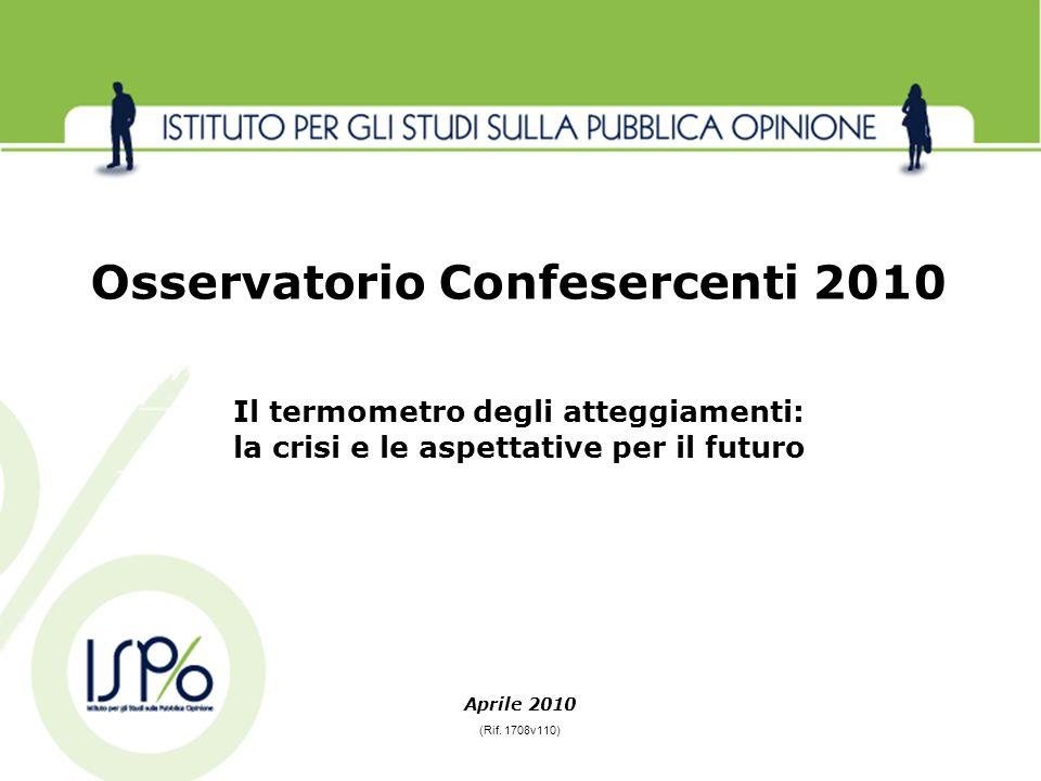 Aprile 2010 Osservatorio Confesercenti 2010 Il termometro degli atteggiamenti: la crisi e le aspettative per il futuro (Rif. 1708v110)