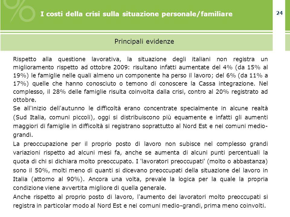 24 I costi della crisi sulla situazione personale/familiare Principali evidenze Rispetto alla questione lavorativa, la situazione degli italiani non r