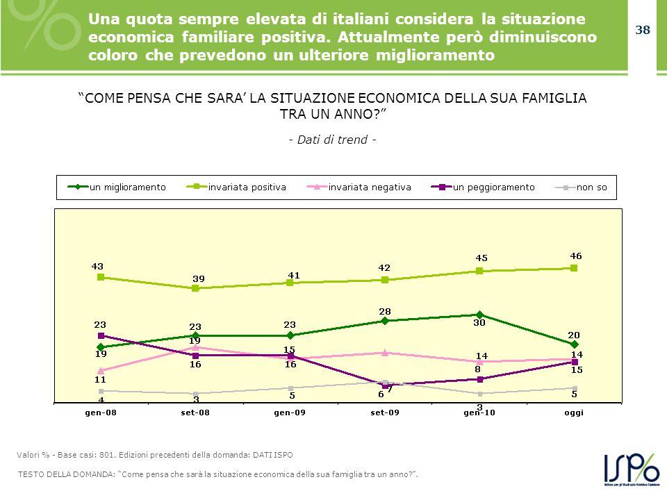 38 Una quota sempre elevata di italiani considera la situazione economica familiare positiva. Attualmente però diminuiscono coloro che prevedono un ul