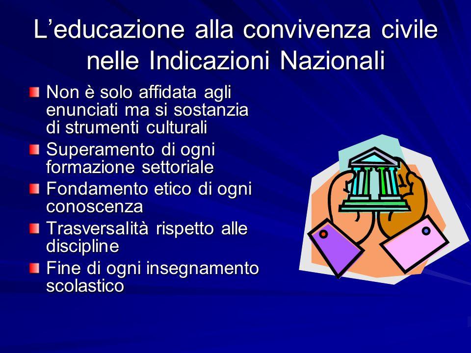 Leducazione alla convivenza civile nelle Indicazioni Nazionali Non è solo affidata agli enunciati ma si sostanzia di strumenti culturali Superamento d