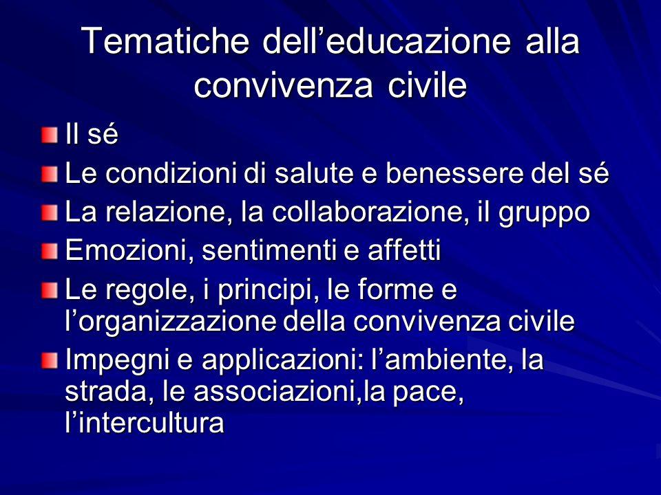 Tematiche delleducazione alla convivenza civile Il sé Le condizioni di salute e benessere del sé La relazione, la collaborazione, il gruppo Emozioni,