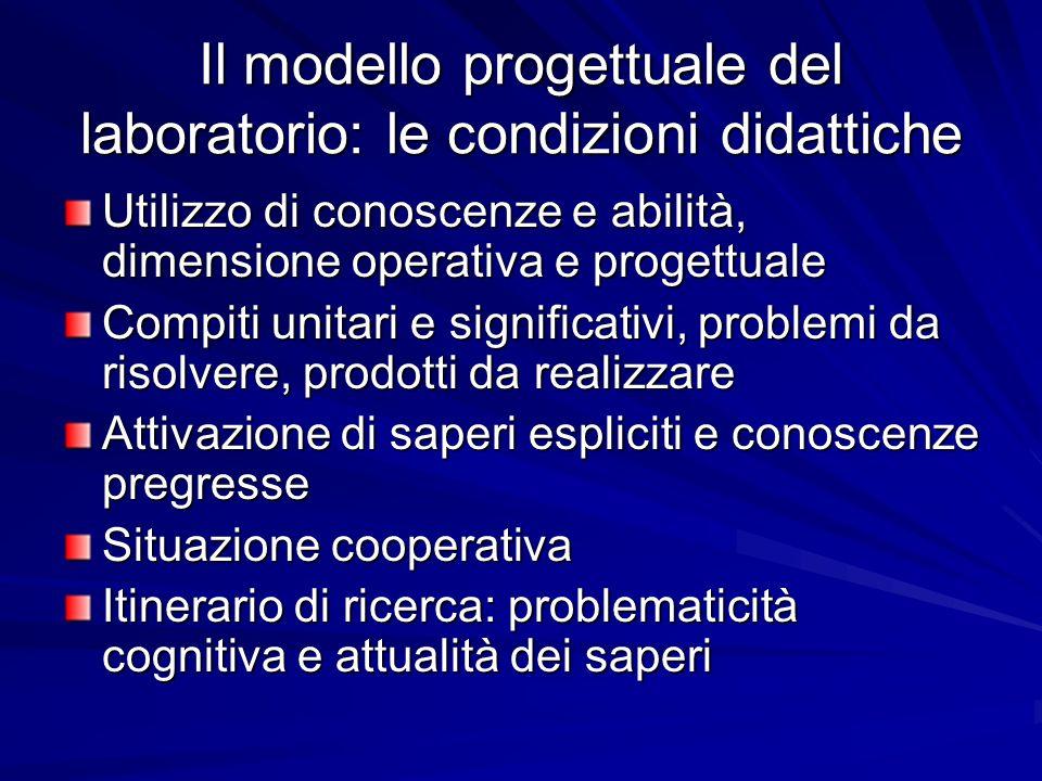 Il modello progettuale del laboratorio: le condizioni didattiche Utilizzo di conoscenze e abilità, dimensione operativa e progettuale Compiti unitari