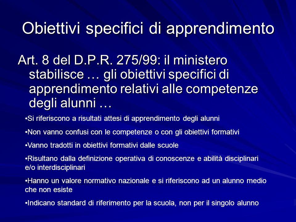 Obiettivi specifici di apprendimento Art. 8 del D.P.R. 275/99: il ministero stabilisce … gli obiettivi specifici di apprendimento relativi alle compet