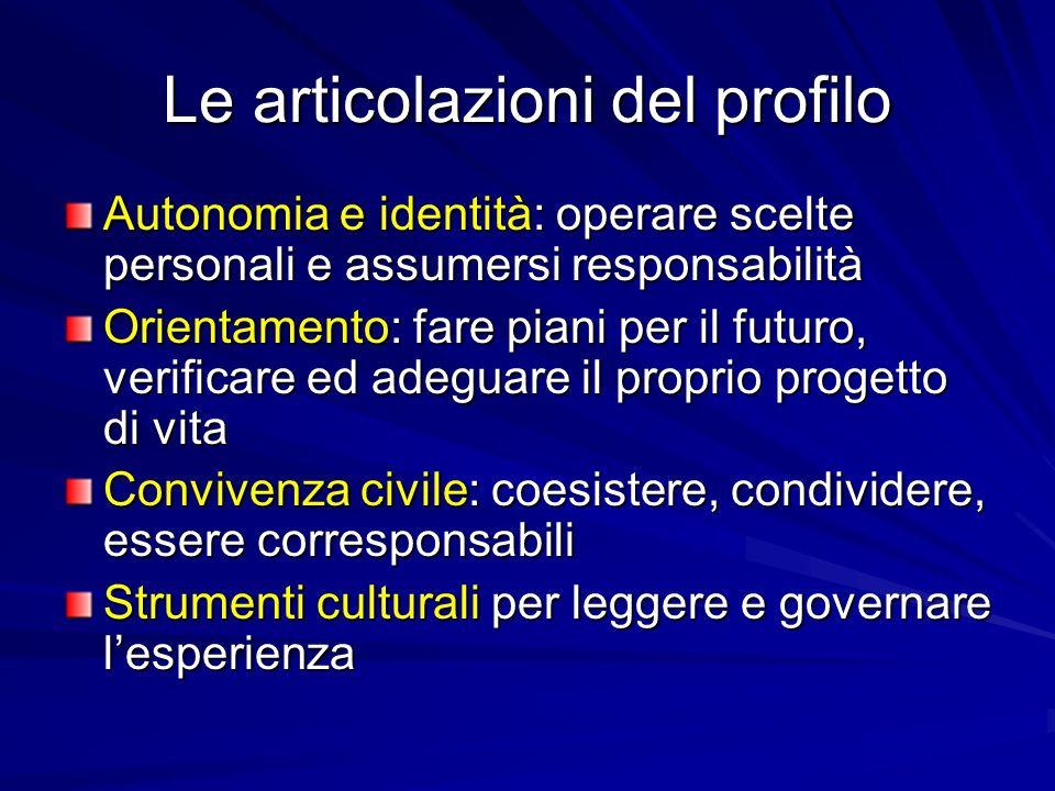Le articolazioni del profilo Autonomia e identità: operare scelte personali e assumersi responsabilità Orientamento: fare piani per il futuro, verific