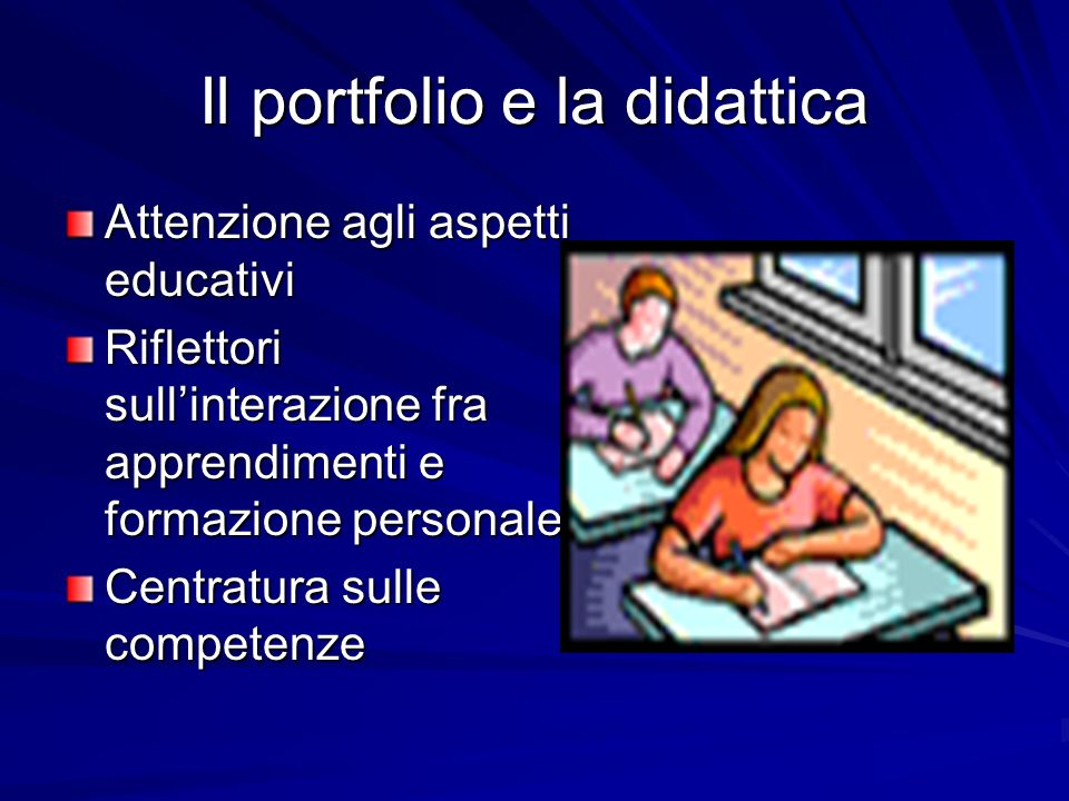 Il portfolio e la didattica Attenzione agli aspetti educativi Riflettori sullinterazione fra apprendimenti e formazione personale Centratura sulle com