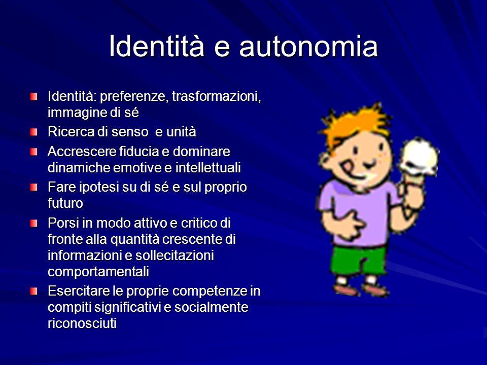 Identità e autonomia Identità: preferenze, trasformazioni, immagine di sé Ricerca di senso e unità Accrescere fiducia e dominare dinamiche emotive e i