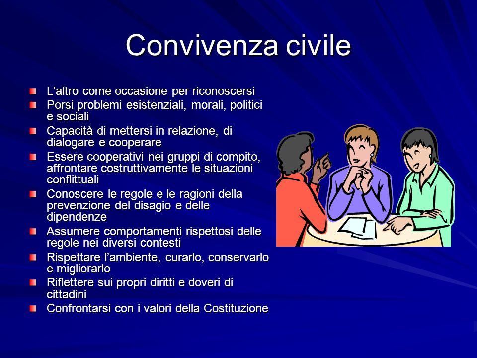 Convivenza civile Laltro come occasione per riconoscersi Porsi problemi esistenziali, morali, politici e sociali Capacità di mettersi in relazione, di