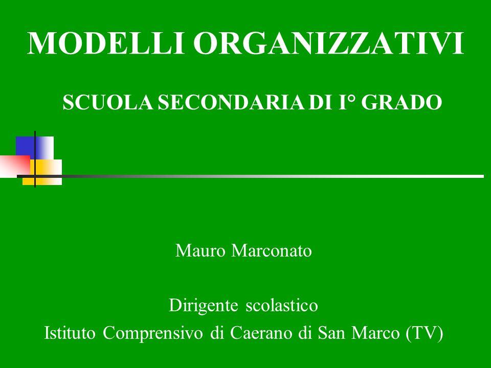 MODELLI ORGANIZZATIVI SCUOLA SECONDARIA DI I° GRADO Mauro Marconato Dirigente scolastico Istituto Comprensivo di Caerano di San Marco (TV)