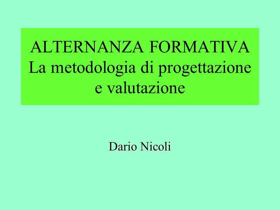 ALTERNANZA FORMATIVA La metodologia di progettazione e valutazione Dario Nicoli