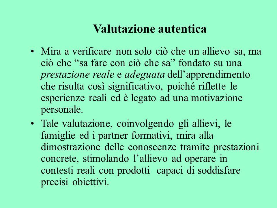 Valutazione autentica Mira a verificare non solo ciò che un allievo sa, ma ciò che sa fare con ciò che sa fondato su una prestazione reale e adeguata