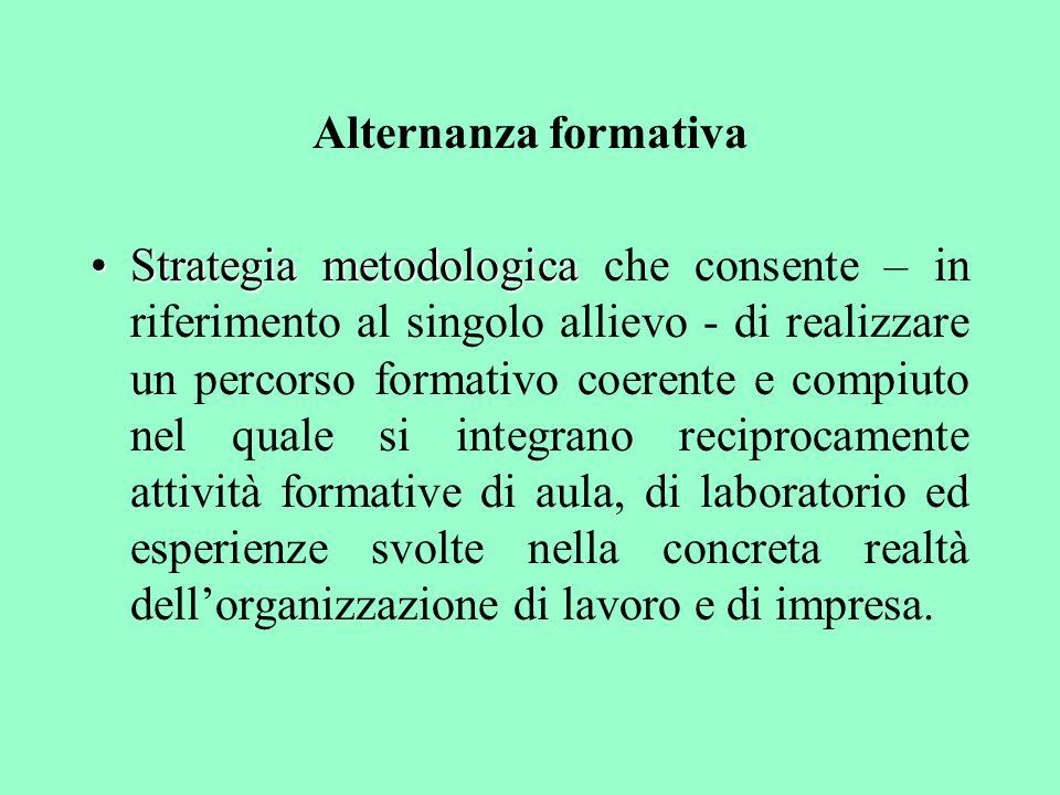 Alternanza formativa Strategia metodologicaStrategia metodologica che consente – in riferimento al singolo allievo - di realizzare un percorso formati