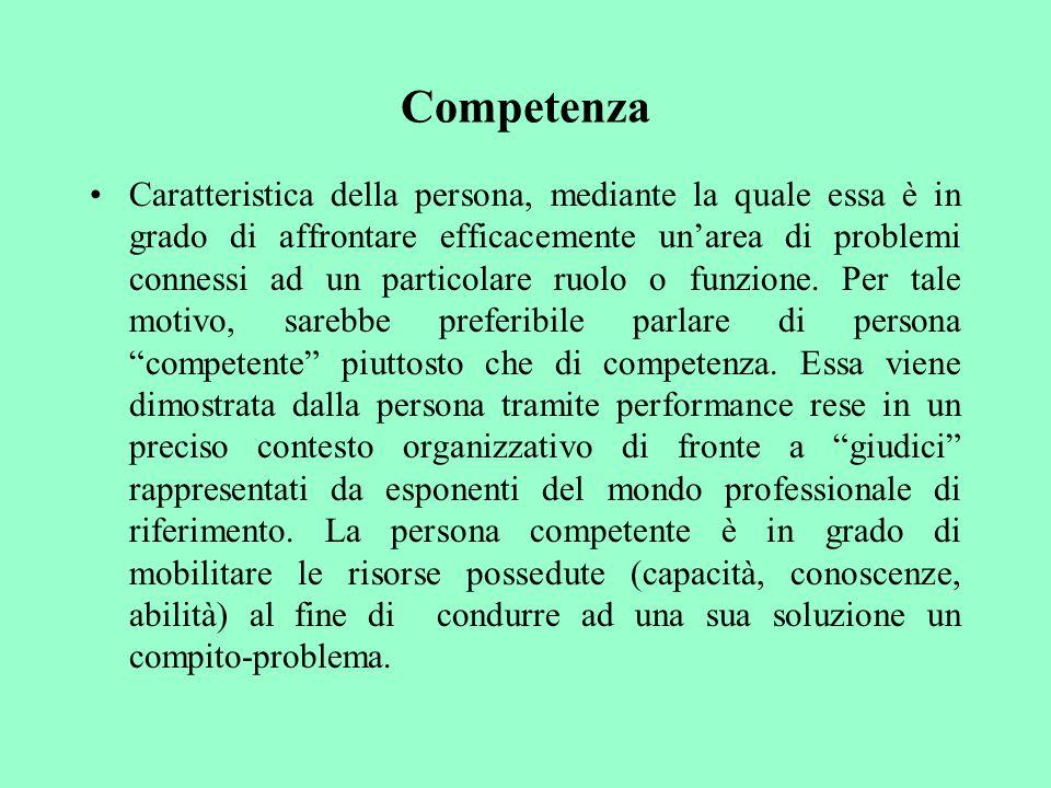 Competenza Caratteristica della persona, mediante la quale essa è in grado di affrontare efficacemente unarea di problemi connessi ad un particolare r