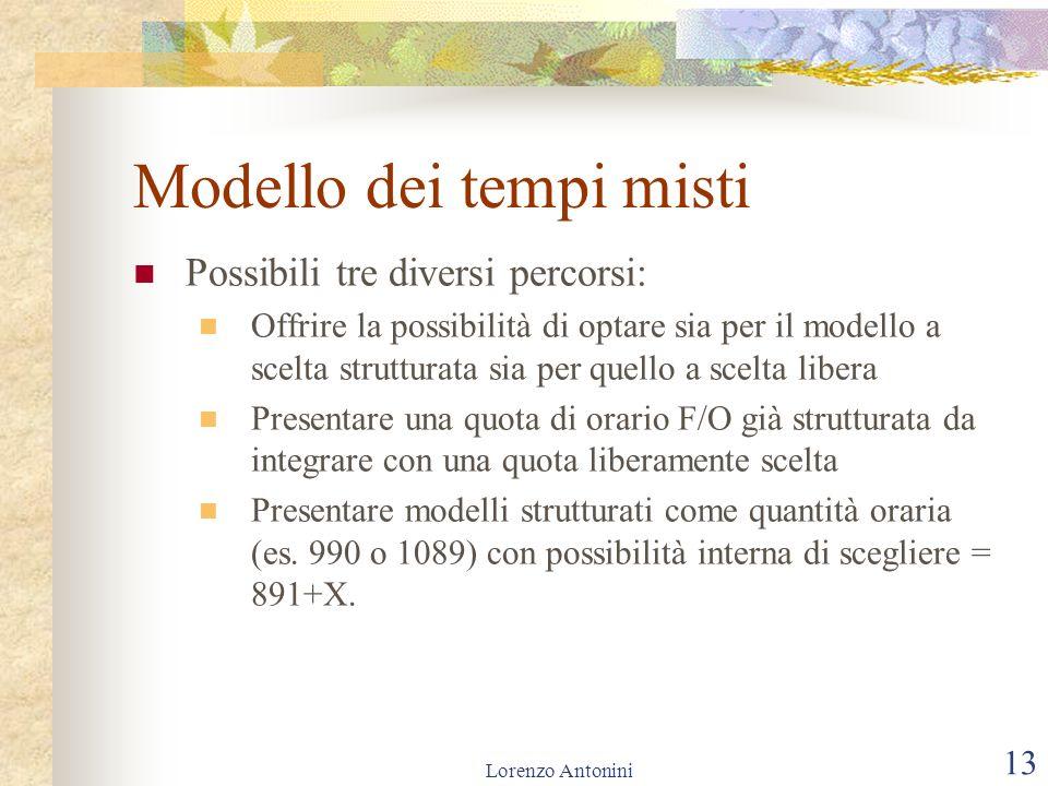 Lorenzo Antonini 13 Modello dei tempi misti Possibili tre diversi percorsi: Offrire la possibilità di optare sia per il modello a scelta strutturata s