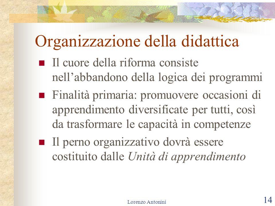Lorenzo Antonini 14 Organizzazione della didattica Il cuore della riforma consiste nellabbandono della logica dei programmi Finalità primaria: promuov