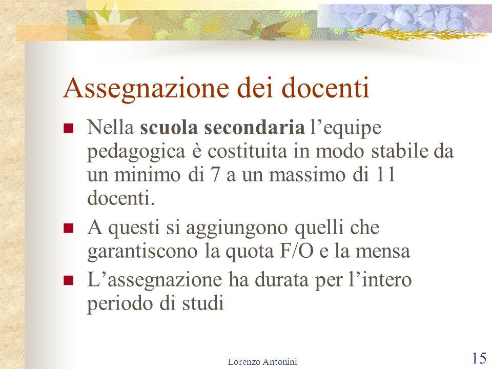 Lorenzo Antonini 15 Assegnazione dei docenti Nella scuola secondaria lequipe pedagogica è costituita in modo stabile da un minimo di 7 a un massimo di 11 docenti.