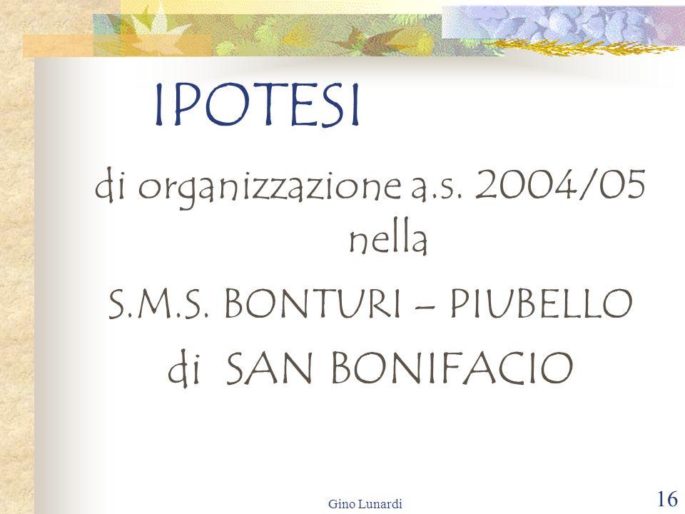 Gino Lunardi 16 IPOTESI di organizzazione a.s. 2004/05 nella S.M.S. BONTURI – PIUBELLO di SAN BONIFACIO