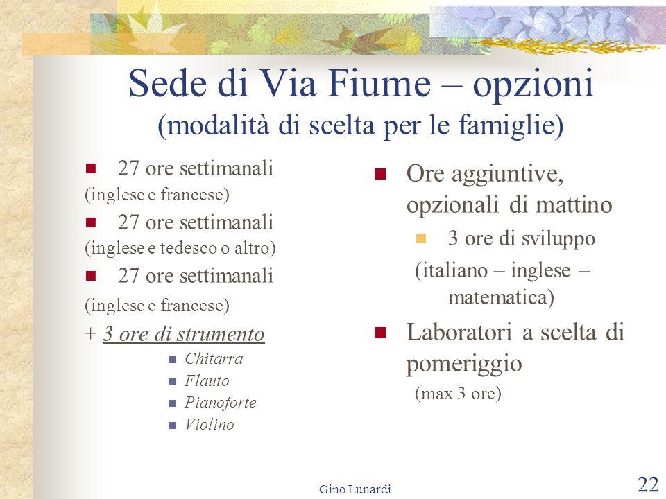 Gino Lunardi 22 Sede di Via Fiume – opzioni (modalità di scelta per le famiglie) 27 ore settimanali (inglese e francese) 27 ore settimanali (inglese e