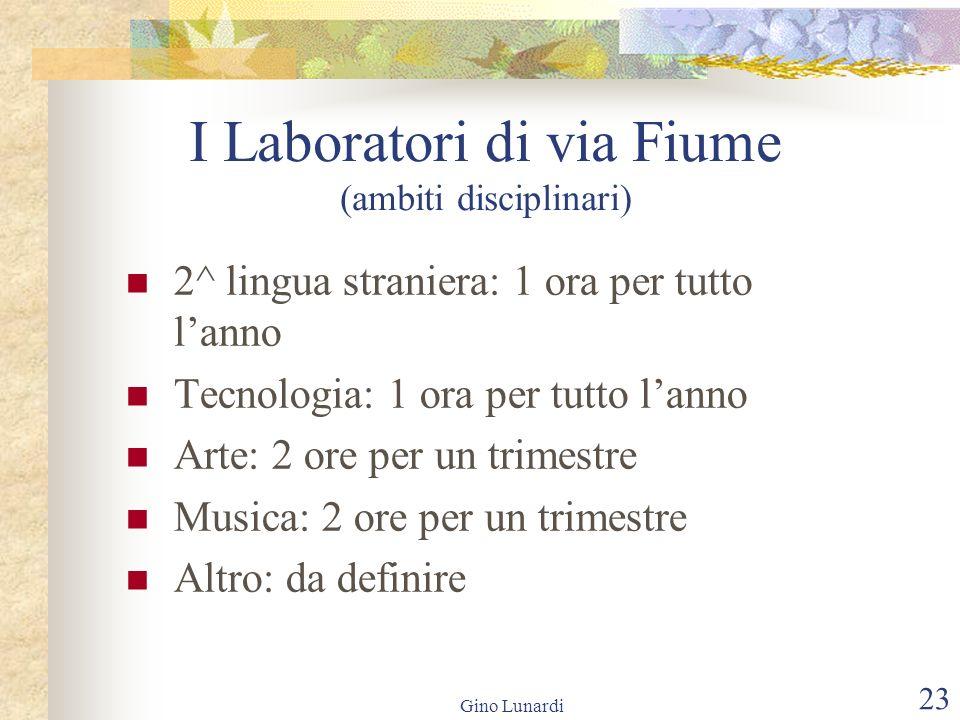 Gino Lunardi 23 I Laboratori di via Fiume (ambiti disciplinari) 2^ lingua straniera: 1 ora per tutto lanno Tecnologia: 1 ora per tutto lanno Arte: 2 o