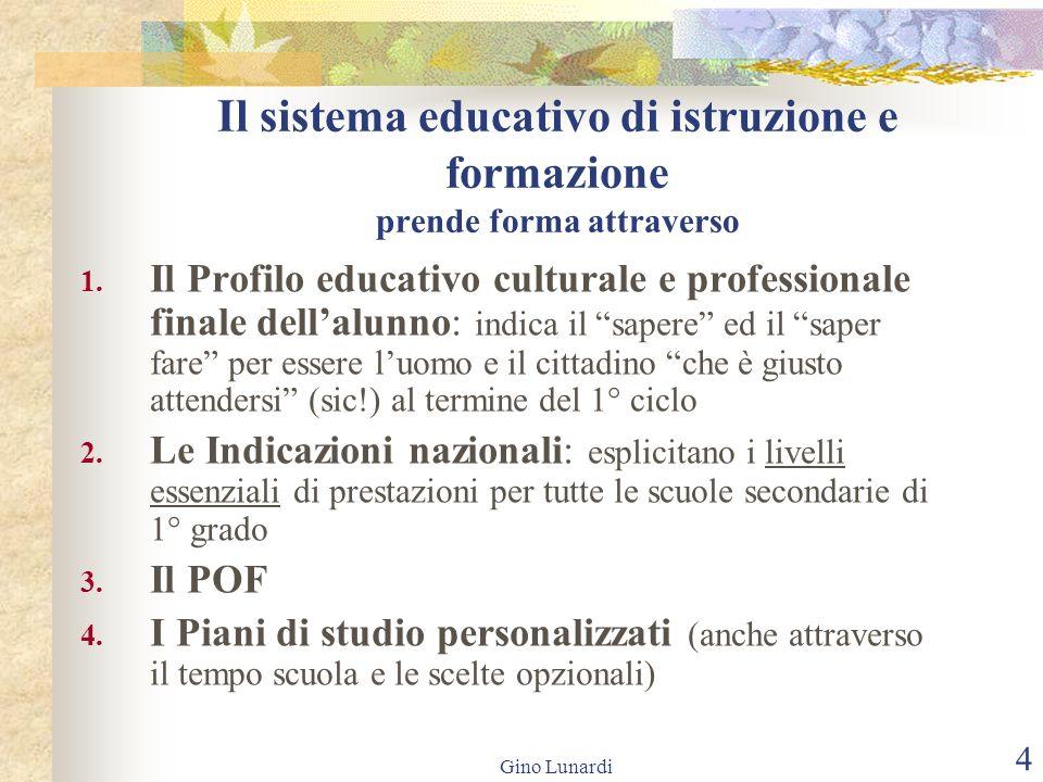 Gino Lunardi 4 Il sistema educativo di istruzione e formazione prende forma attraverso 1. Il Profilo educativo culturale e professionale finale dellal