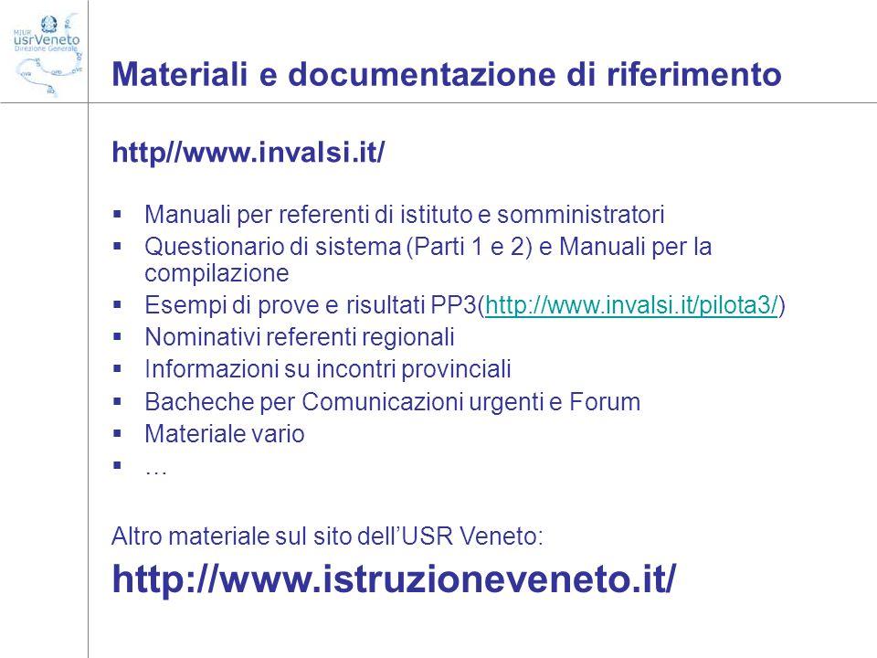 Materiali e documentazione di riferimento http//www.invalsi.it/ Manuali per referenti di istituto e somministratori Questionario di sistema (Parti 1 e