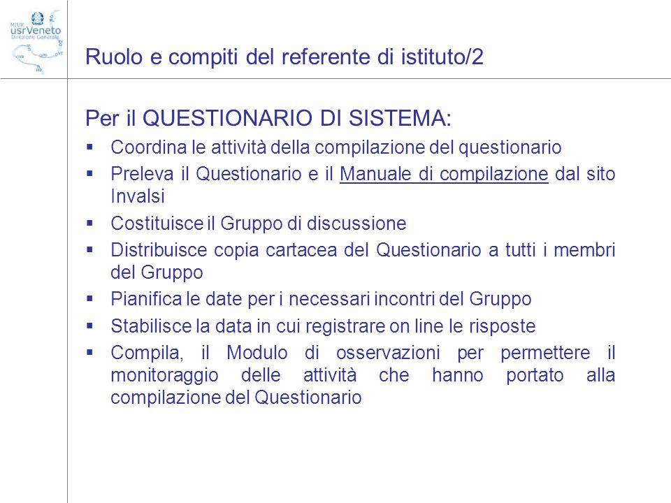 Ruolo e compiti del referente di istituto/2 Per il QUESTIONARIO DI SISTEMA: Coordina le attività della compilazione del questionario Preleva il Questi