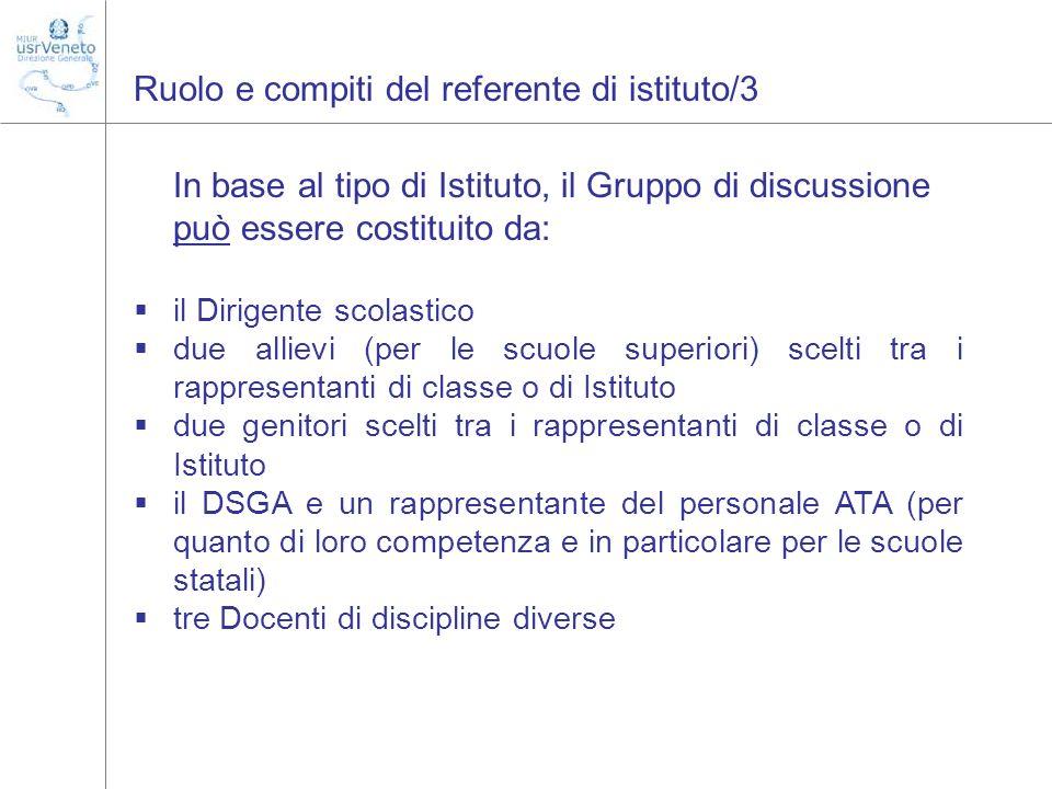 Ruolo e compiti del referente di istituto/3 In base al tipo di Istituto, il Gruppo di discussione può essere costituito da: il Dirigente scolastico du