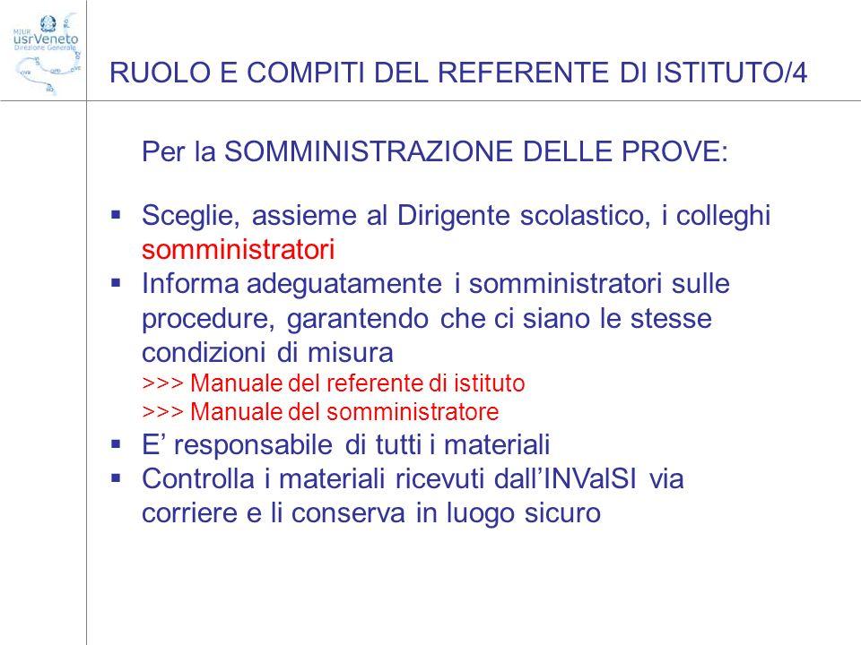 RUOLO E COMPITI DEL REFERENTE DI ISTITUTO/4 Per la SOMMINISTRAZIONE DELLE PROVE: Sceglie, assieme al Dirigente scolastico, i colleghi somministratori