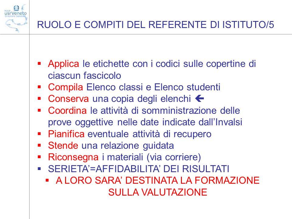 RUOLO E COMPITI DEL REFERENTE DI ISTITUTO/5 Applica le etichette con i codici sulle copertine di ciascun fascicolo Compila Elenco classi e Elenco stud