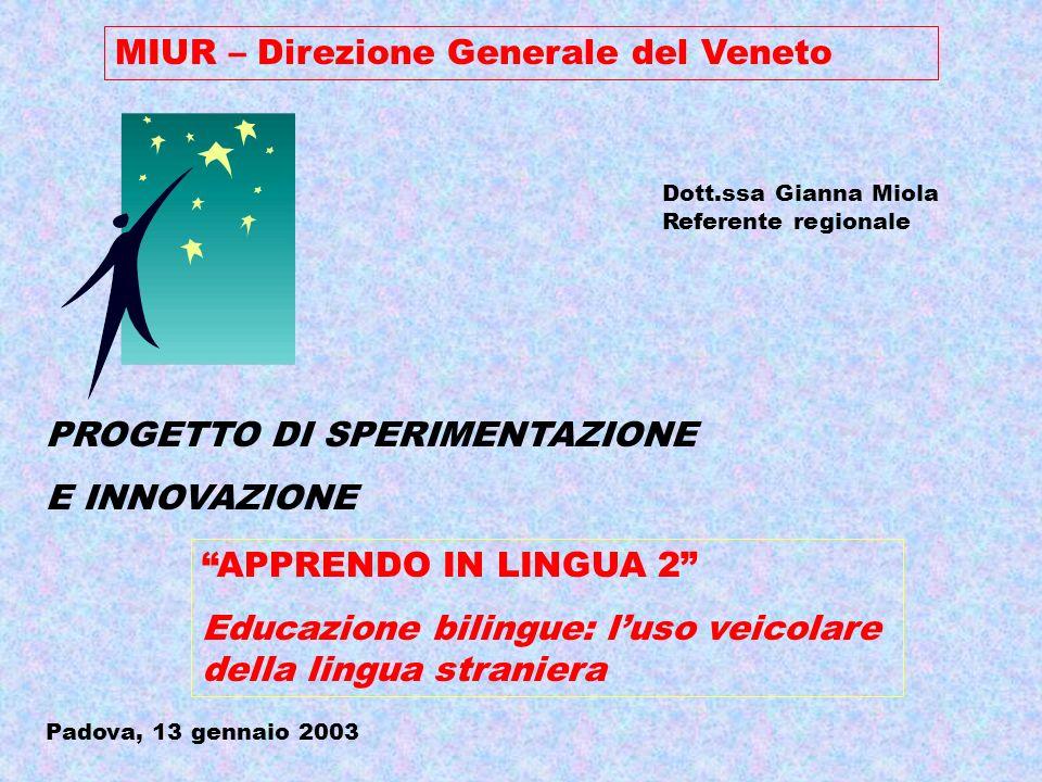 MIUR – Direzione Generale del Veneto Dott.ssa Gianna Miola Referente regionale PROGETTO DI SPERIMENTAZIONE E INNOVAZIONE APPRENDO IN LINGUA 2 Educazione bilingue: luso veicolare della lingua straniera Padova, 13 gennaio 2003