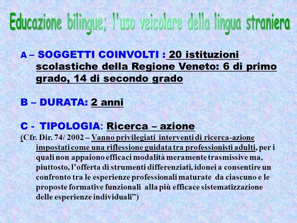 A – SOGGETTI COINVOLTI : 20 istituzioni scolastiche della Regione Veneto: 6 di primo grado, 14 di secondo grado B – DURATA: 2 anni C - TIPOLOGIA : Ricerca – azione (Cfr.
