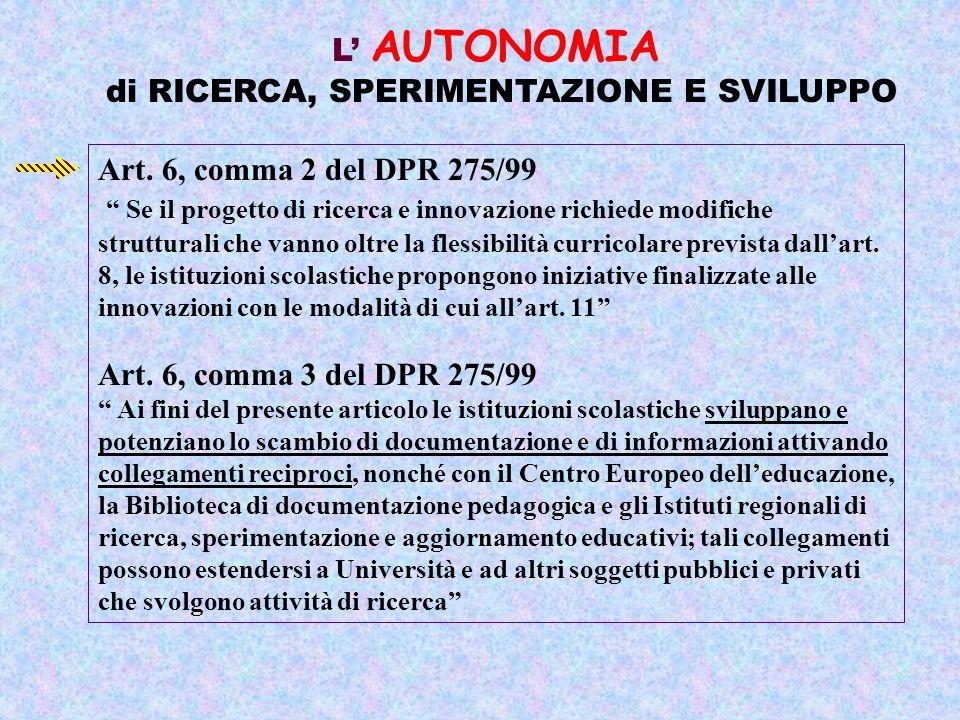 L AUTONOMIA di RICERCA, SPERIMENTAZIONE E SVILUPPO Art.