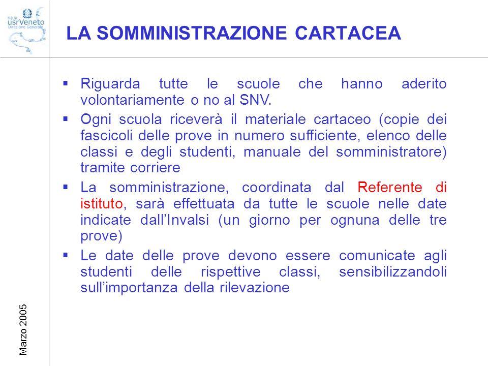 Marzo 2005 LA SOMMINISTRAZIONE CARTACEA Riguarda tutte le scuole che hanno aderito volontariamente o no al SNV.