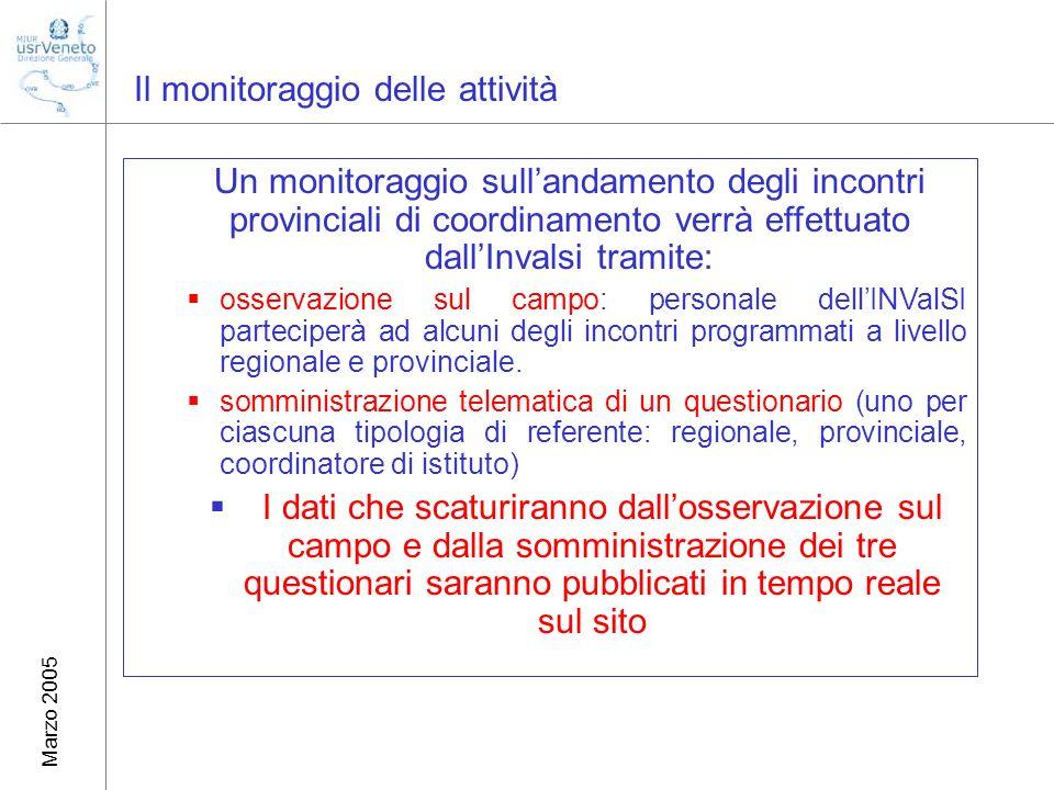 Marzo 2005 Il monitoraggio delle attività Un monitoraggio sullandamento degli incontri provinciali di coordinamento verrà effettuato dallInvalsi tramite: osservazione sul campo: personale dellINValSI parteciperà ad alcuni degli incontri programmati a livello regionale e provinciale.