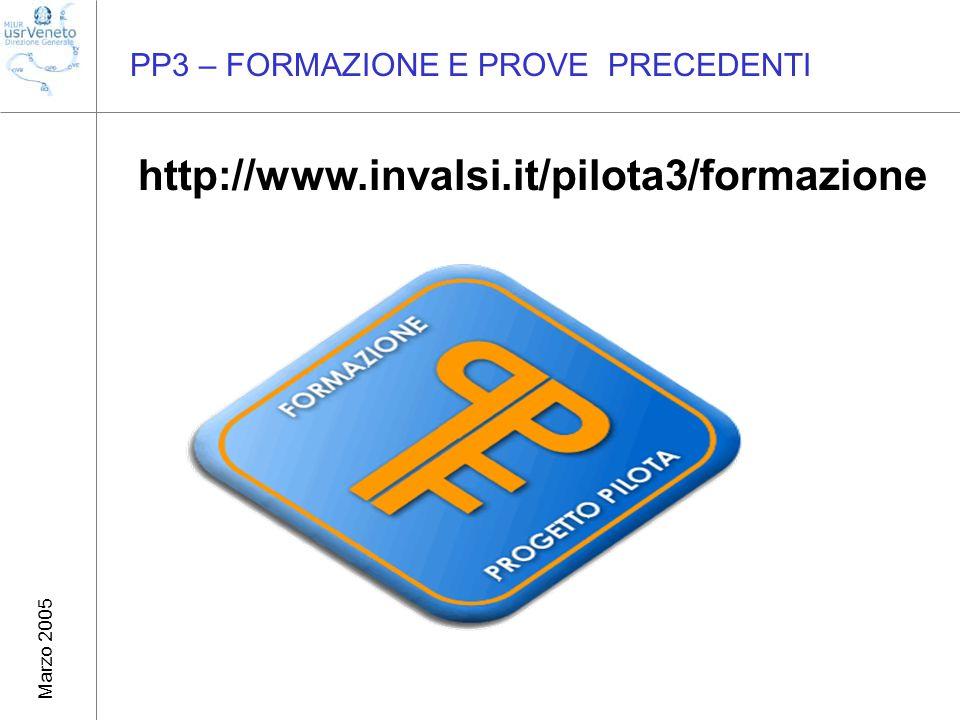 Marzo 2005 PP3 – FORMAZIONE E PROVE PRECEDENTI http://www.invalsi.it/pilota3/formazione