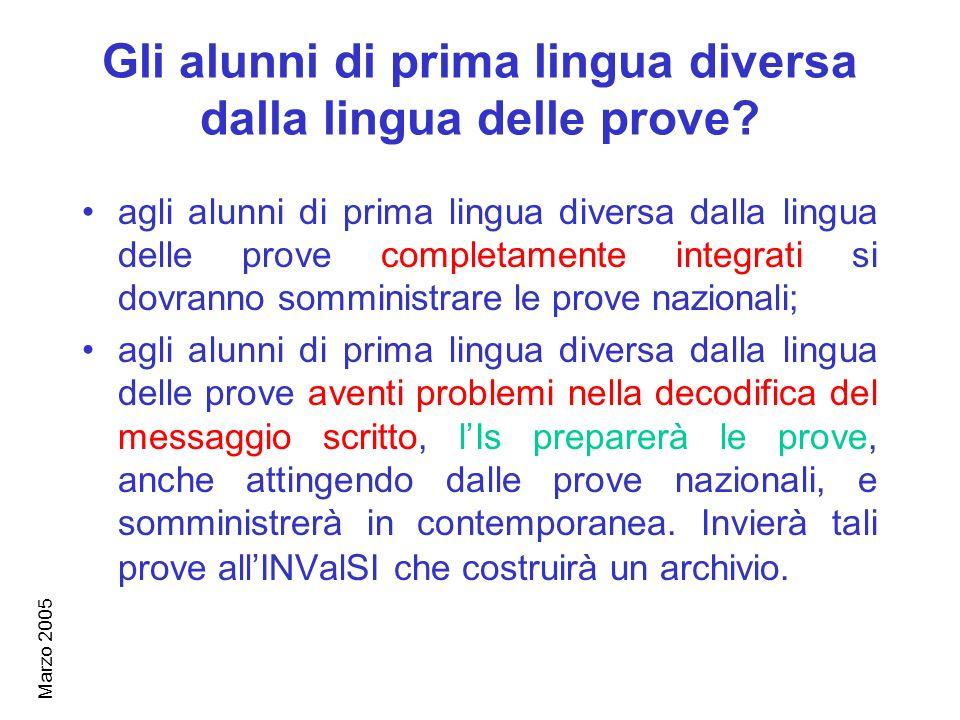 Marzo 2005 Gli alunni di prima lingua diversa dalla lingua delle prove.