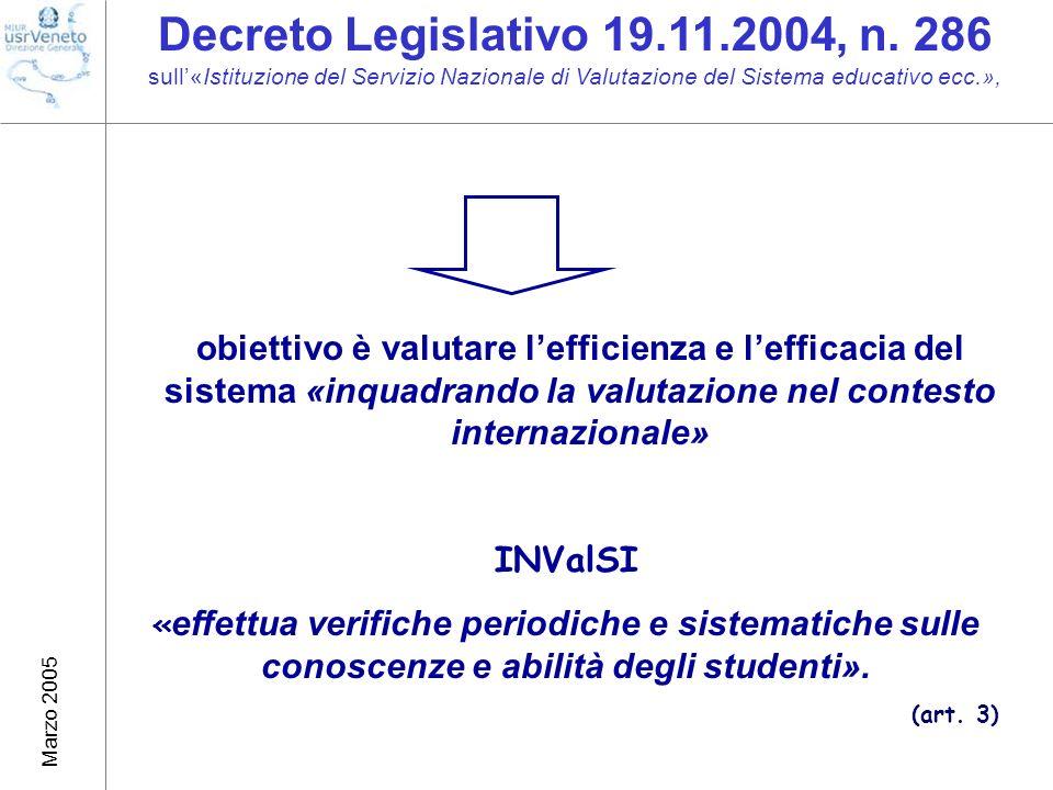 Marzo 2005 obiettivo è valutare lefficienza e lefficacia del sistema «inquadrando la valutazione nel contesto internazionale» INValSI « effettua verifiche periodiche e sistematiche sulle conoscenze e abilità degli studenti».
