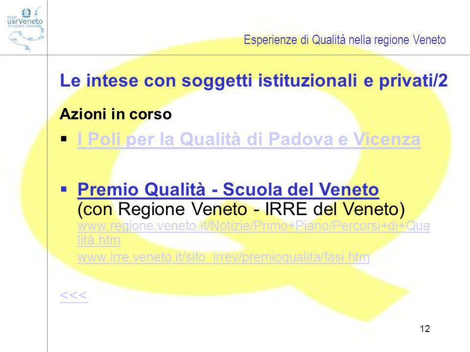 12 Le intese con soggetti istituzionali e privati/2 Azioni in corso I Poli per la Qualità di Padova e Vicenza Premio Qualità - Scuola del Veneto (con Regione Veneto - IRRE del Veneto) www.regione.veneto.it/Notizie/Primo+Piano/Percorsi+di+Qua lità.htm www.regione.veneto.it/Notizie/Primo+Piano/Percorsi+di+Qua lità.htm www.irre.veneto.it/sito_irrev/premioqualita/fasi.htm <<< Esperienze di Qualità nella regione Veneto