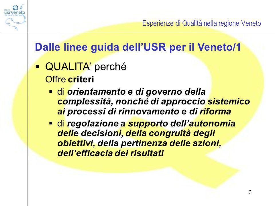 3 Dalle linee guida dellUSR per il Veneto/1 QUALITA perché Offre criteri di orientamento e di governo della complessità, nonché di approccio sistemico ai processi di rinnovamento e di riforma di regolazione a supporto dellautonomia delle decisioni, della congruità degli obiettivi, della pertinenza delle azioni, dellefficacia dei risultati Esperienze di Qualità nella regione Veneto
