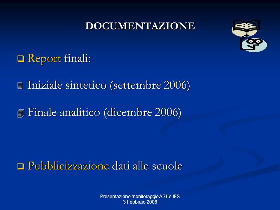 Presentazione monitoraggio ASL e IFS 3 Febbraio 2006 DOCUMENTAZIONE Report finali: Report finali: Iniziale sintetico (settembre 2006) Iniziale sinteti
