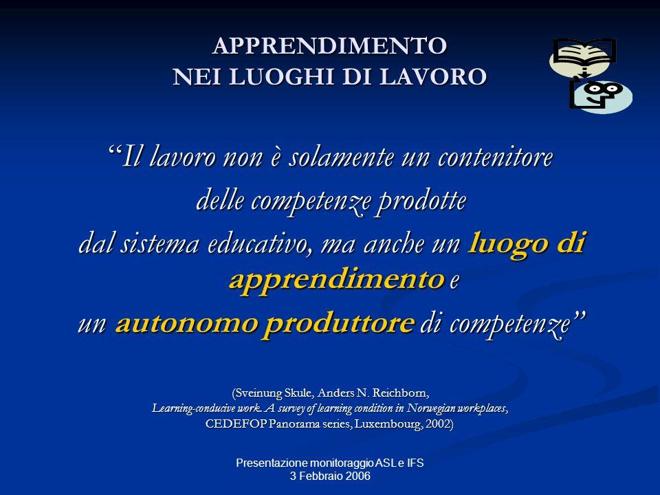 Presentazione monitoraggio ASL e IFS 3 Febbraio 2006 APPRENDIMENTO NEI LUOGHI DI LAVORO Il lavoro non è solamente un contenitoreIl lavoro non è solame