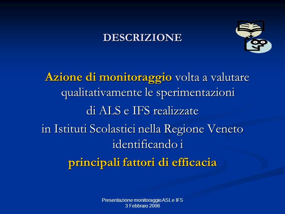 Presentazione monitoraggio ASL e IFS 3 Febbraio 2006 DESCRIZIONE Azione di monitoraggio volta a valutare qualitativamente le sperimentazioni Azione di