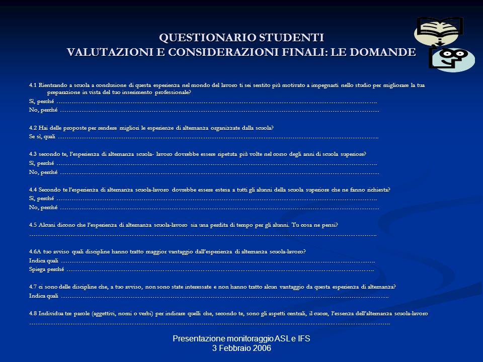 Presentazione monitoraggio ASL e IFS 3 Febbraio 2006 QUESTIONARIO STUDENTI VALUTAZIONI E CONSIDERAZIONI FINALI: LE DOMANDE 4.1 Rientrando a scuola a c
