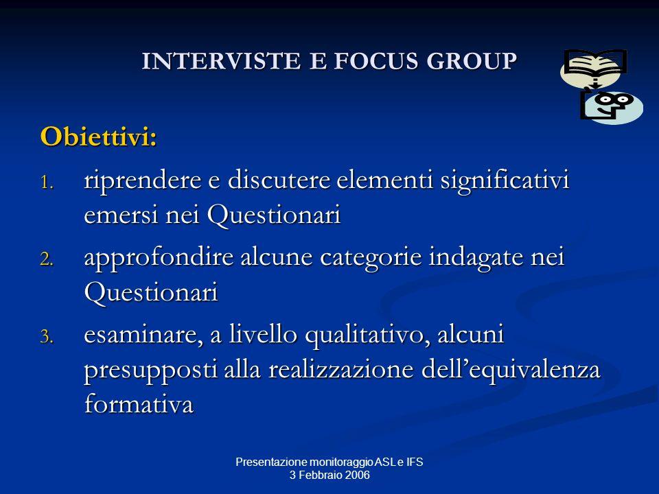 Presentazione monitoraggio ASL e IFS 3 Febbraio 2006 INTERVISTE E FOCUS GROUP Obiettivi: 1. riprendere e discutere elementi significativi emersi nei Q