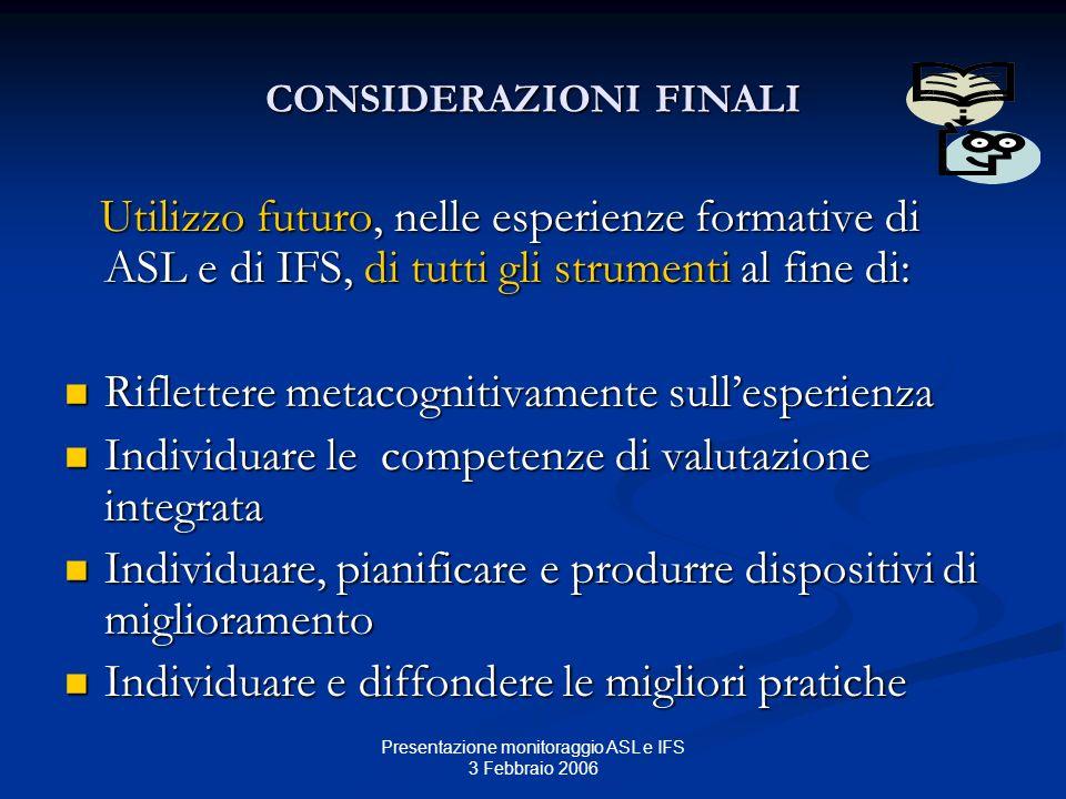 Presentazione monitoraggio ASL e IFS 3 Febbraio 2006 CONSIDERAZIONI FINALI Utilizzo futuro, nelle esperienze formative di ASL e di IFS, di tutti gli s