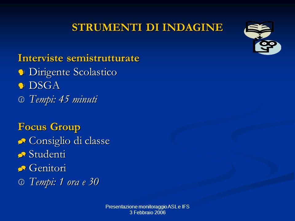 Presentazione monitoraggio ASL e IFS 3 Febbraio 2006 STRUMENTI DI INDAGINE Interviste semistrutturate Dirigente Scolastico Dirigente Scolastico DSGA D