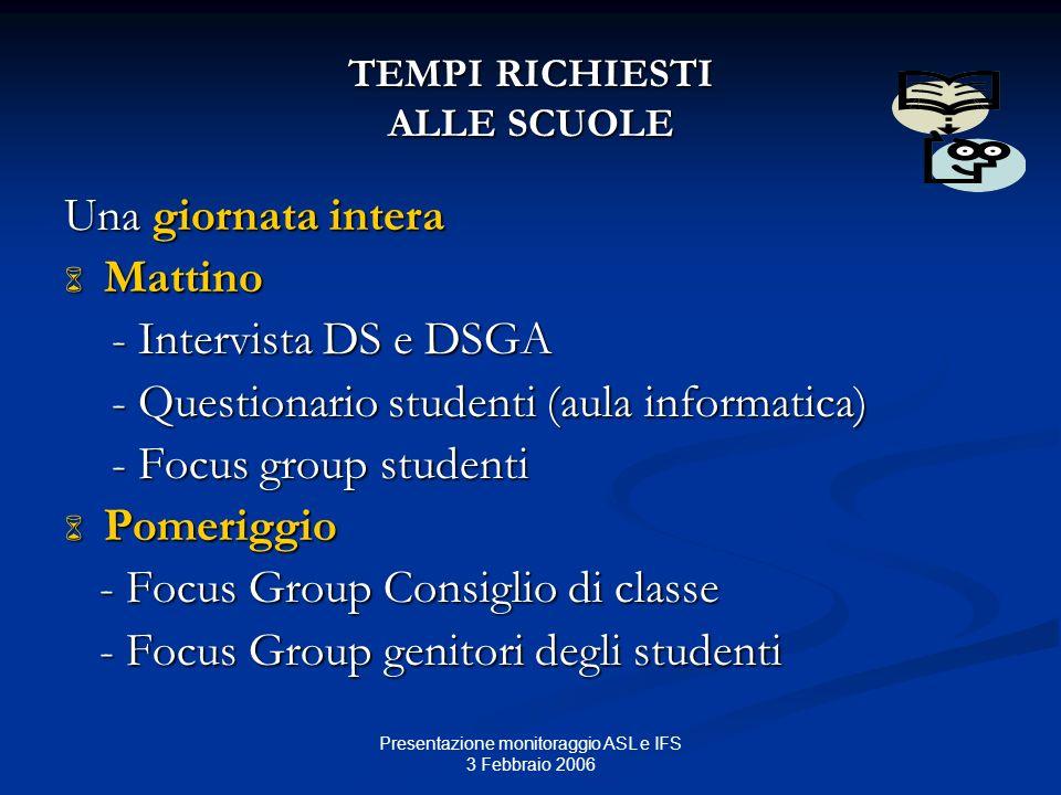 Presentazione monitoraggio ASL e IFS 3 Febbraio 2006 TEMPI RICHIESTI ALLE SCUOLE Una giornata intera Mattino Mattino - Intervista DS e DSGA - Intervis