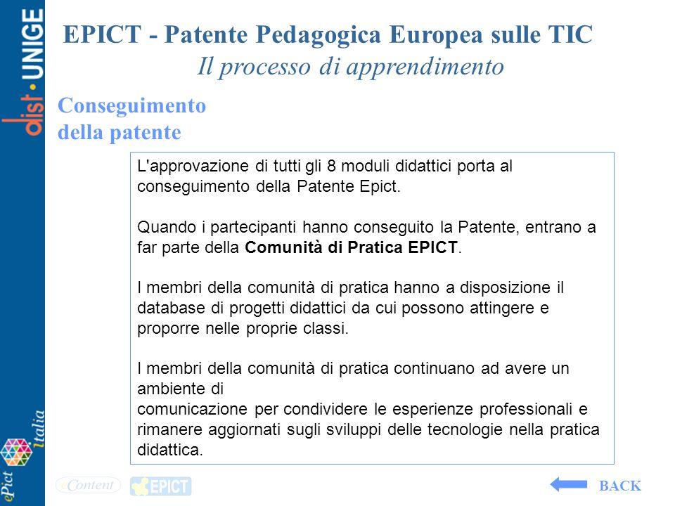 EPICT - Patente Pedagogica Europea sulle TIC Il processo di apprendimento Conseguimento della patente L'approvazione di tutti gli 8 moduli didattici p